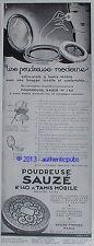 PUBLICITE SAUZE POUDREUSE N° 140 A TAMIS MOBILE AVEC HOUPPE DE 1929 FRENCH AD