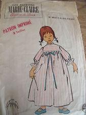ANCIEN PATRON MARIE CLAIRE CHEMISE DE NUIT TAILLE 1/5 ANS ANNEE 50/60