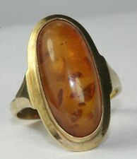 VINTAGE 9CT 9K GOLD TALL AMBER RING SIZE 8.75