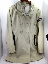 Women's Athleta Trench Pea coat long Khaki Beige Magnetic buttons Sz XL GUC