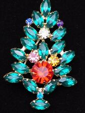 PRONG MULTI PINK TEAL GOLD MARQUISE RHINESTONE CHRISTMAS TREE PIN BROOCH JEWELRY