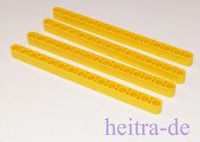 LEGO Technik - 4 x Liftarm dick 1x15 gelb / Yellow  Liftarm / 32278 NEUWARE