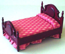 Dolls House Furniture: Mahogany Double Bed  with Pink Cover/Valance 12th scale