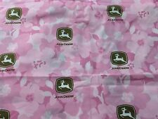"""Pink Floral Girly John Deere licensed Cotton Quilting Fabric Springs 44"""" BTHY"""