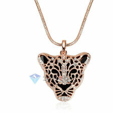 Large Leopard Head Pendant Necklace Jewellery 18K Gold Plated Swarovski Crystal