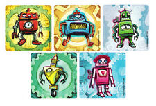 15 Robot Stickers Kid Reward Party Goody Loot Gift Bag Filler Favor Supply