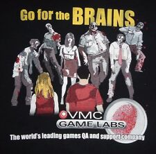 ZOMBIES - VMC GAME LABS - GO FOR THE BRAINS - Men's size L - Graphic T-Shirt