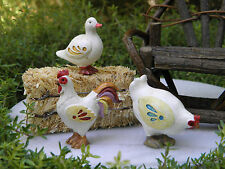 Miniature Dollhouse FAIRY GARDEN ~ Country Farm Duck, Hen & Rooster ~ NEW