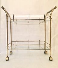 VINTAGE MID CENTURY MODERN BRASS BAR CART TWO HANDLED RARE
