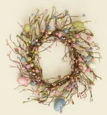 EASTER EGG WREATH Candle Ring Pastel Pip Berries Country Primitive Spring