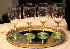 4 Watermelon Pink & Green Depression Glass Floral Etched Wine Glass 1920's -1930