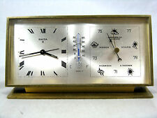 RARA SWIZA Stazione Meteorologica Allarme Stupendo OROLOGIO DA TAVOLO TABLE CLOCK SWISS MADE 8 days German