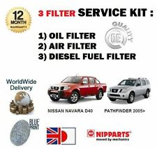 FOR NISSAN NAVARA + PATHFINDER D40 2.5 TD 2006-  OIL AIR FUEL FILTER SERVICE KIT