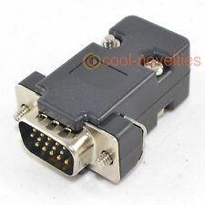 DB15HD 15 WAY D SUB VGA MALE HD PLUG CONNECTOR WITH BLACK HOOD/SHELL (15 PIN)