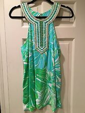 NWT LILLY PULITZER ADELINA TUNIC EMBELLISHED GREEN SHEEN FRONDS PLACE M