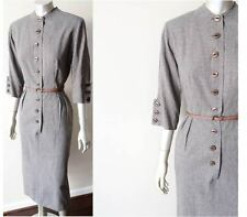 Vintage 40s Rockabilly Button Front Check Plaid Pencil Brown Blue Wool Dress S