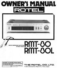 Rotel RMT-80 Tuner Owners Manual