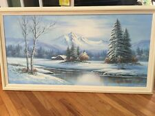 Winter Landscape,Beverly Jamison Carrick 1970s Original Oil Painting signed