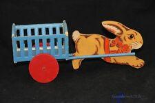 großer alter Osterhase aus Holz mit Wagen