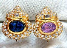 AGL Certified 10.75ct natural pink & blue sapphire diamond earrings 18kt