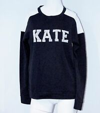 "AMERICAN RETRO Sweatshirt ""Kate"" for Kate Moss BEADED LOGO Black White TERRY Top"
