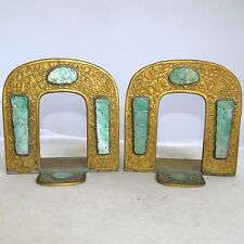 """Pair 4.8"""" Antique Chinese Gilt Brass Bookends with 8 Carved Green Jadeite Jade"""