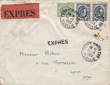 Lettre Tunisie Tunis Double Expres    France 1953 Tunisia Cover