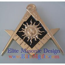 New Design Masonic Master Mason Cut out Car  Emblem,Gold.  Elite M Gifts Design.