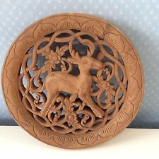 Thai Wooden Carving Wall Hanging of Reindeer