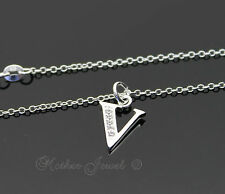 LOVELY STERLING SILVER FILLED INITIAL LETTER V SIMULATED DIAMOND GIRLS NECKLACE