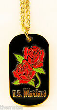 MARINE CORPS WOMANS LADIES WITH ROSES MILITARY  DOG TAG WITH CHAIN