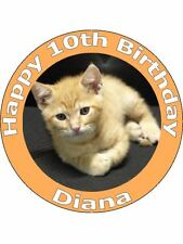 7.5 KITTEN / KITTY CAT BIRTHDAY CAKE TOPPERS DECORATIONS ON EDIBLE RICE PAPER