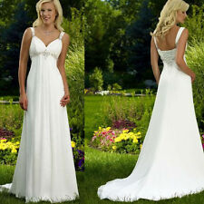 Empire Chiffon Bridal Gown Beach Wedding Dress Custom Size 6 8 10 12 14 16++