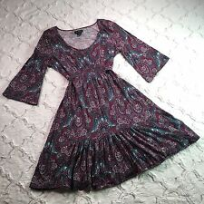 LUCKY BRAND Women's EMPIRE WAIST Boho PAISLEY Dress 100% COTTON Size M NWOT