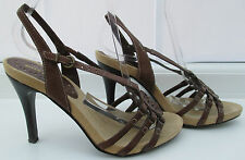 RIVER ISLAND SIZE 4 (37)  BROWN LEATHER HIGH  HEEL SANDALS