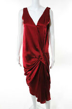 Lanvin Red Silk Sleeveless Pleated Gathered Front Waist Dress European Size 36