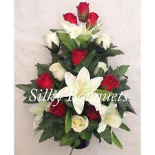 Artificial Silk Grave Crem Pot Flower Arrangement Flat Back Rose Lily Classic