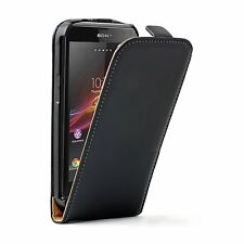 Ultra Slim BLACK Leather Case Cover Pouch For Sony Xperia Z3 experia