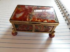 ANTIQUE MOSS AGATE & ORMALU SMALL JEWELLERY CASKET WITH BALL FEET VICTORIAN