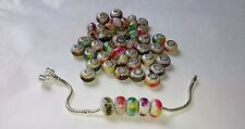 50 x MIXED COLOUR Splash Acrylic EUROPEAN CHARM BEADS 925 Stamped Silver Core