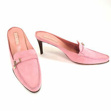 ESCADA 38 Pink Suede Hand Sewn Moccasin Heels Womens Mules Slides Shoes Italy