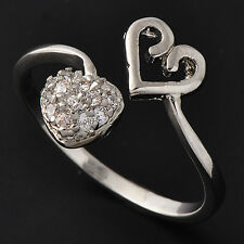 Womens Heart Rhinestone Sizable Ring  14K White Gold Plated Adjustable Size 5