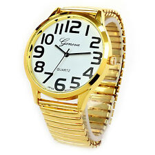 Gold Super Size Round Face Stretch Band Bold Hours Easy to Read Watch
