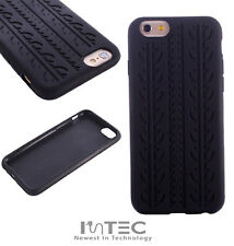 "PREMIUM Black Tyre Tread Soft Ultra Thin Silicone Case Cover For iPhone 6 (4.7"")"