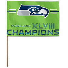 Super Bowl 48 Seattle Seahawks Champions Officially Licensed Stick Flag