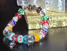 Hand Made BEAD BRACELET Quality Euro beads Some bling Tiny MOON CHARM Brand New