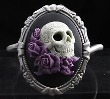 Mexican Sugar Skull with Lavender Roses Cameo Bracelet