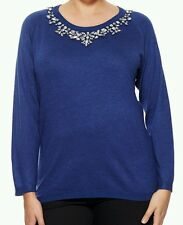 Cyrus Woman Blue Long Sleeve Sweater Top Pullover Embelished Neck plus Size 1X
