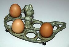 Egg Holder Chicken Hen Shabby Chic Sage Green Country Kitchen Tray Rack Iron New