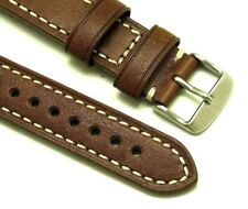 20mm Vintage Brown Leather Contrast Stitch Replacement Watch Strap - Seiko 20